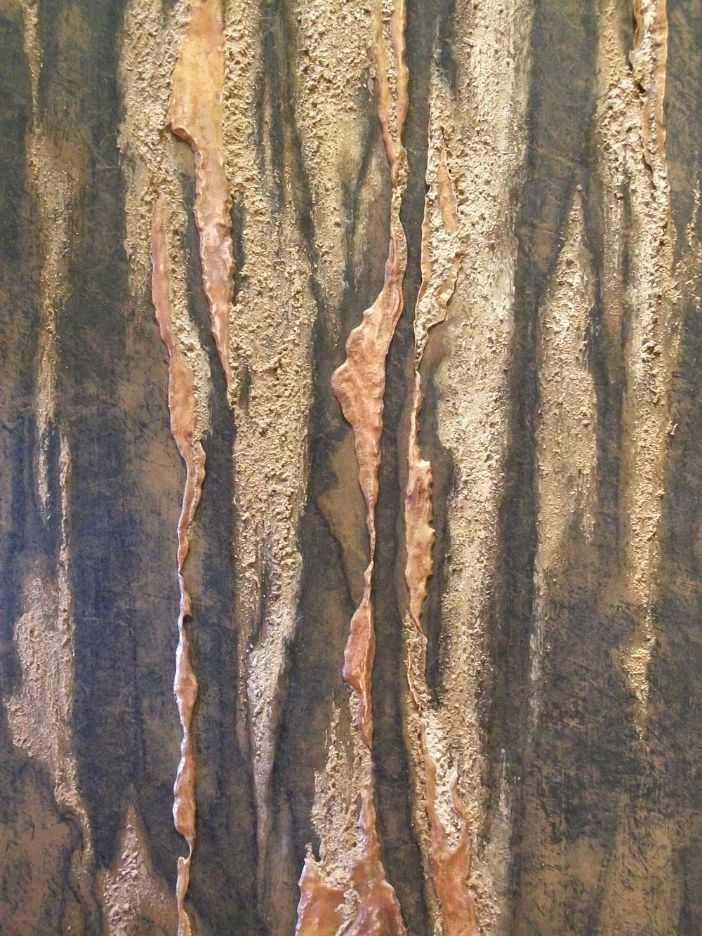 DETAIL b,  YARA DIPTYCH ,  Yara 1 , copper repoussé elements, mineral particles and acrylic on archival wood panel,