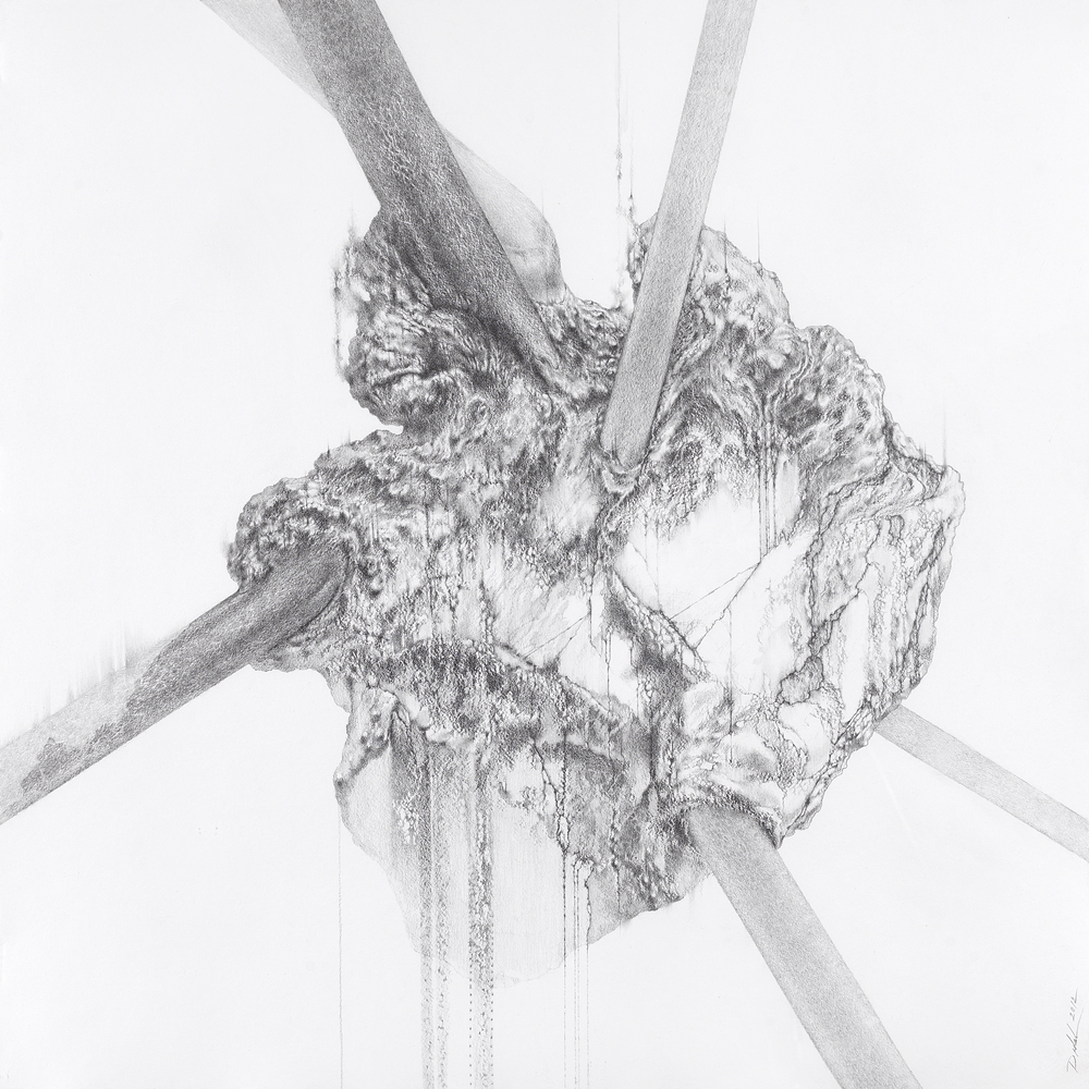 BREATHING STONE, 2014, graphite pencil on Twinrocker handmade paper, 22 x 22 inches