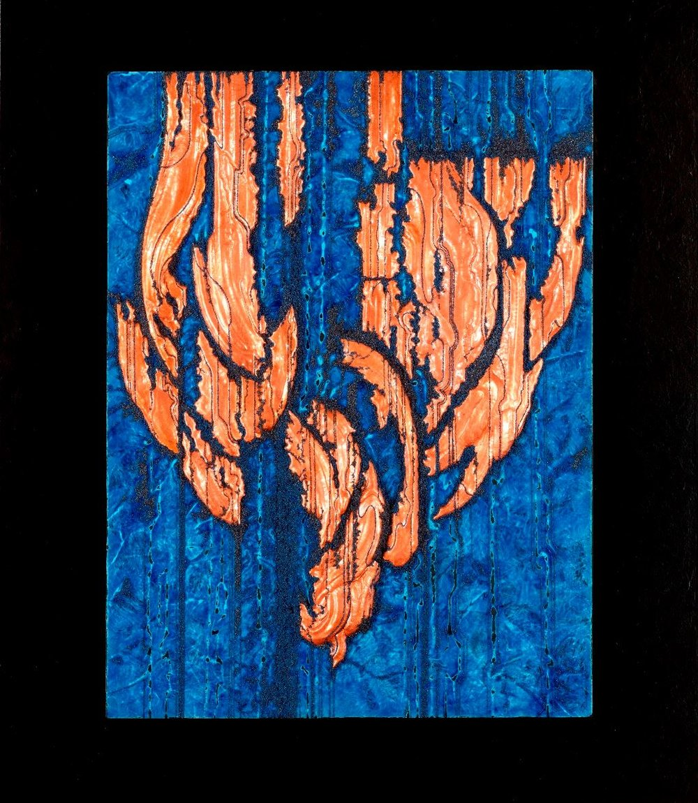 """Weeping Banyan 3,"" copper repoussé elements, mineral particles and lapis lazuli acrylic on archival wood panel, 30H x 26W x 2D inches"