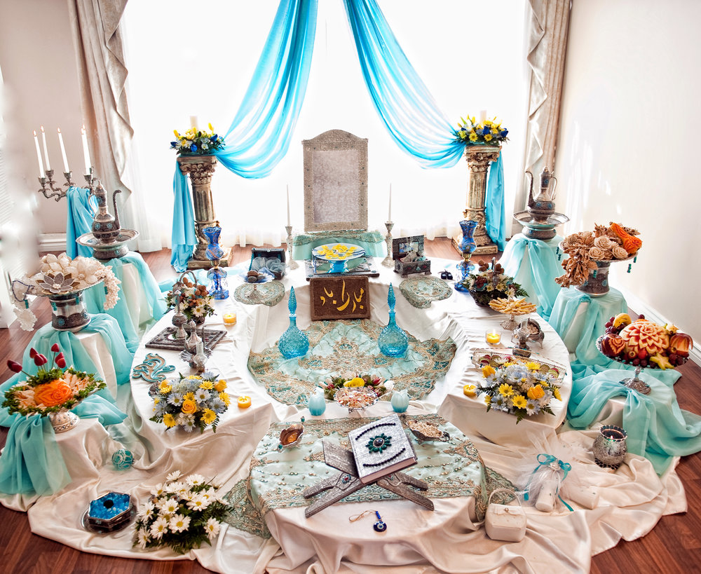 Turquoise with Silver Sofreh set up in a private residence-Toronto