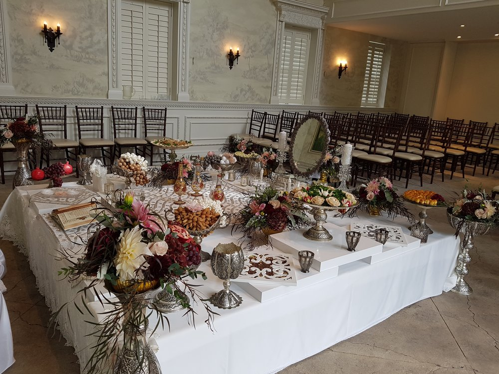 Traditional Silver Sofreh set up in Graydon Hall Manor- Toronto