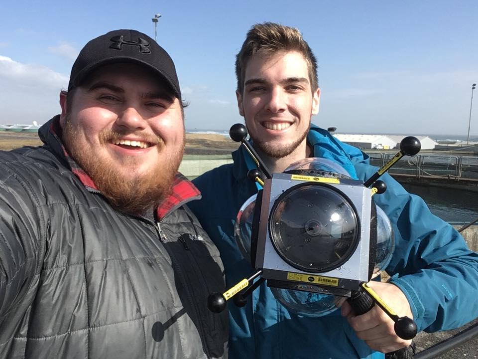 Jackson and Ryan from SubVRsive on location in Iceland with a Go-Pro rig in an Abyss underwater casing.