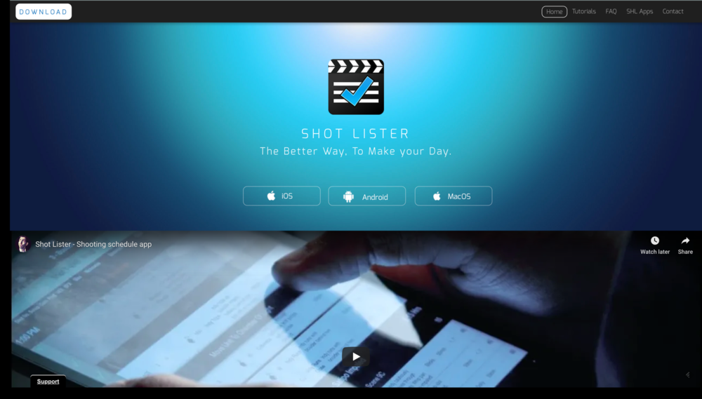 Shot Lister - WEB: https://shotlister.comWHAT'S IT FOR? Scheduling & Shot Listing