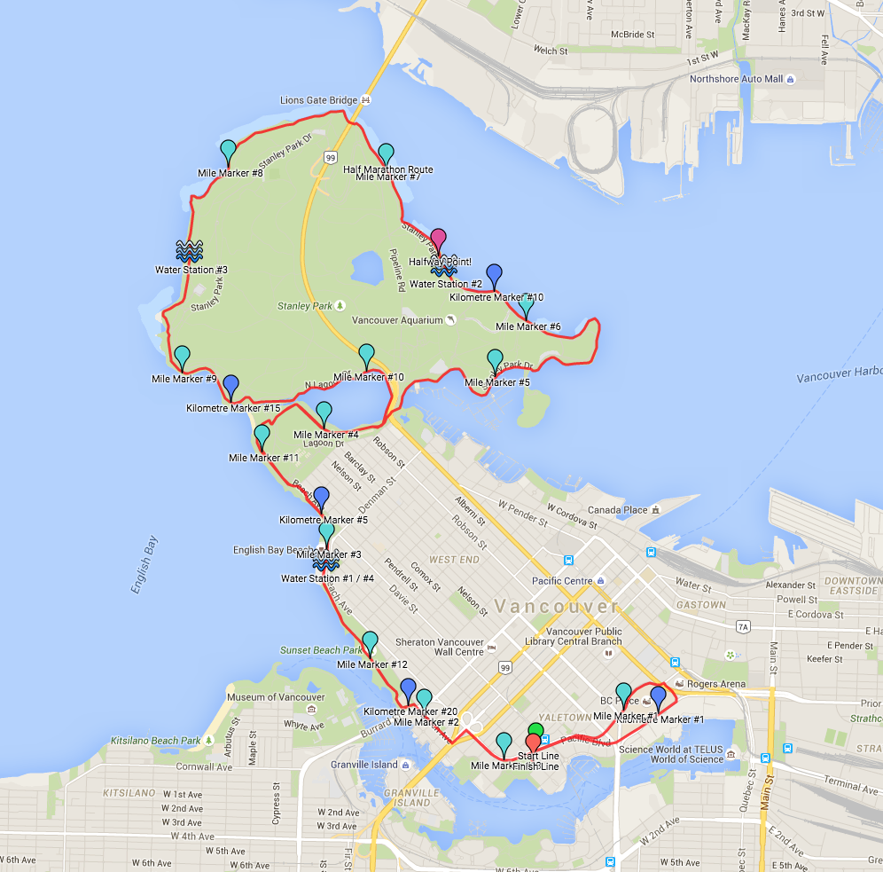 The First Half race course: starting and finishing at the Yaletown Roundhouse, it runs the perimeter of Stanley Park.