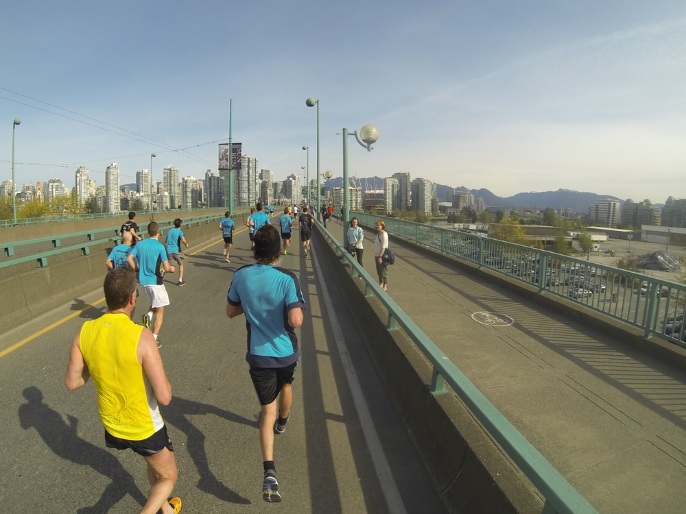Final kilometre, over Cambie bridge