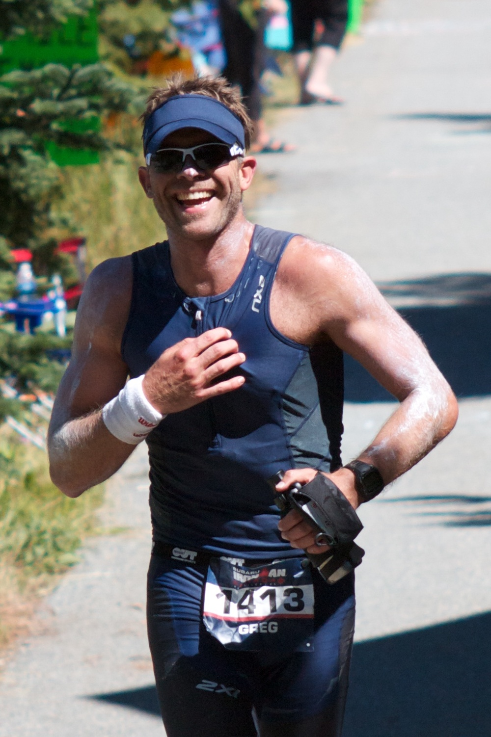 My training buddy Greg at Ironman Canada; stoked to see us cheering!