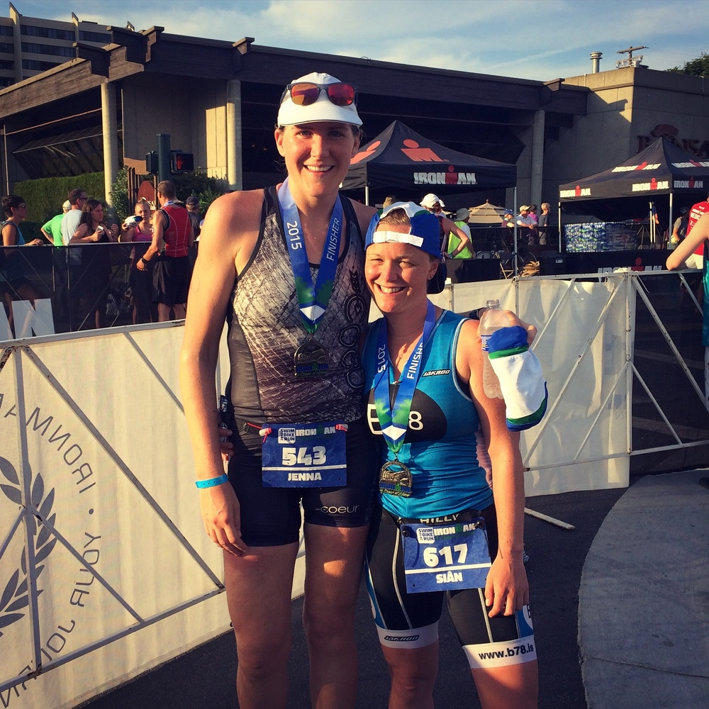 Jenna and Siân at the finish of Ironman Coeur d'Alene – their first full!