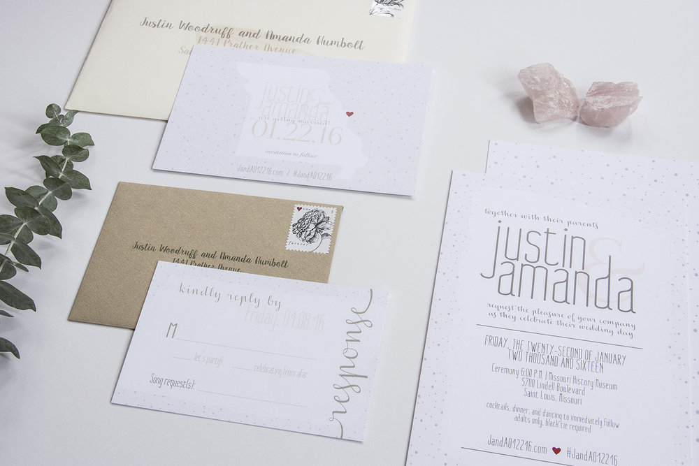Leighwood Design Studio Custom Wedding Invitation Design in St