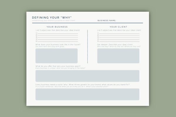 Leighwood Paperie & Design Studio | Defining You Why; Free Brand Worksheet
