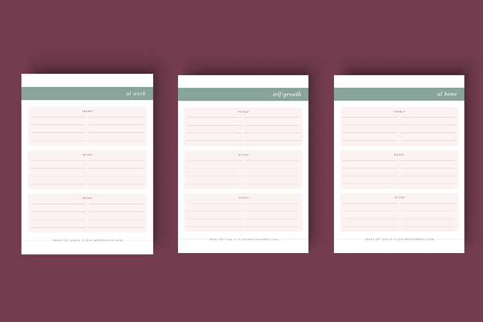 Leighwood Paperie >> Download your goal planning worksheets