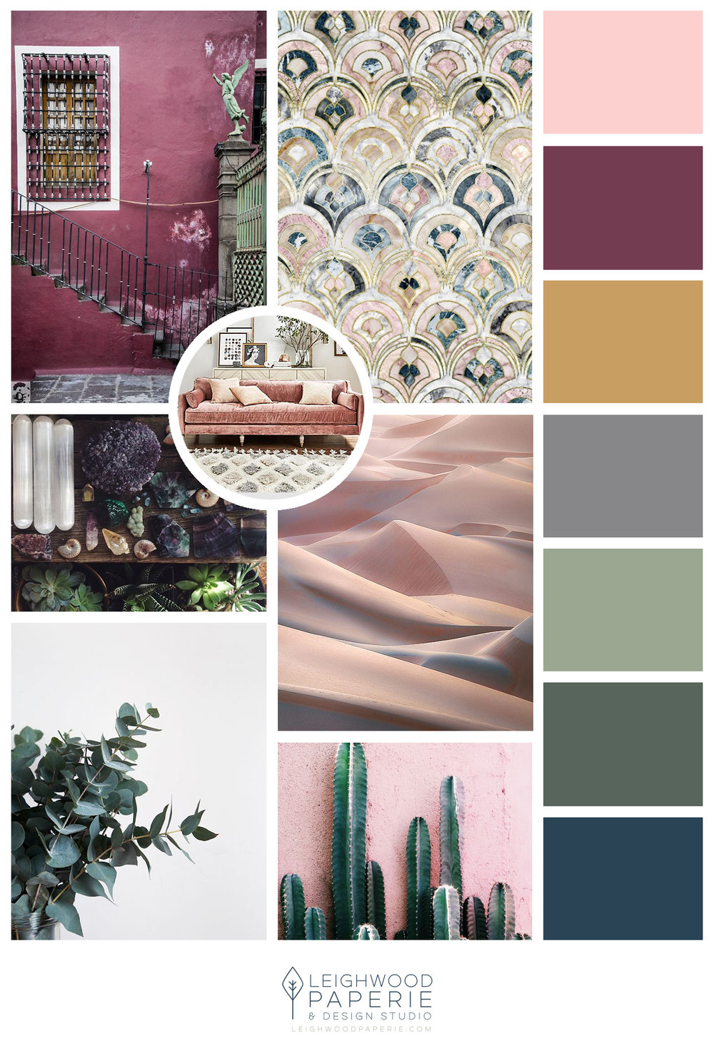 Mood board for Leighwood Paperie