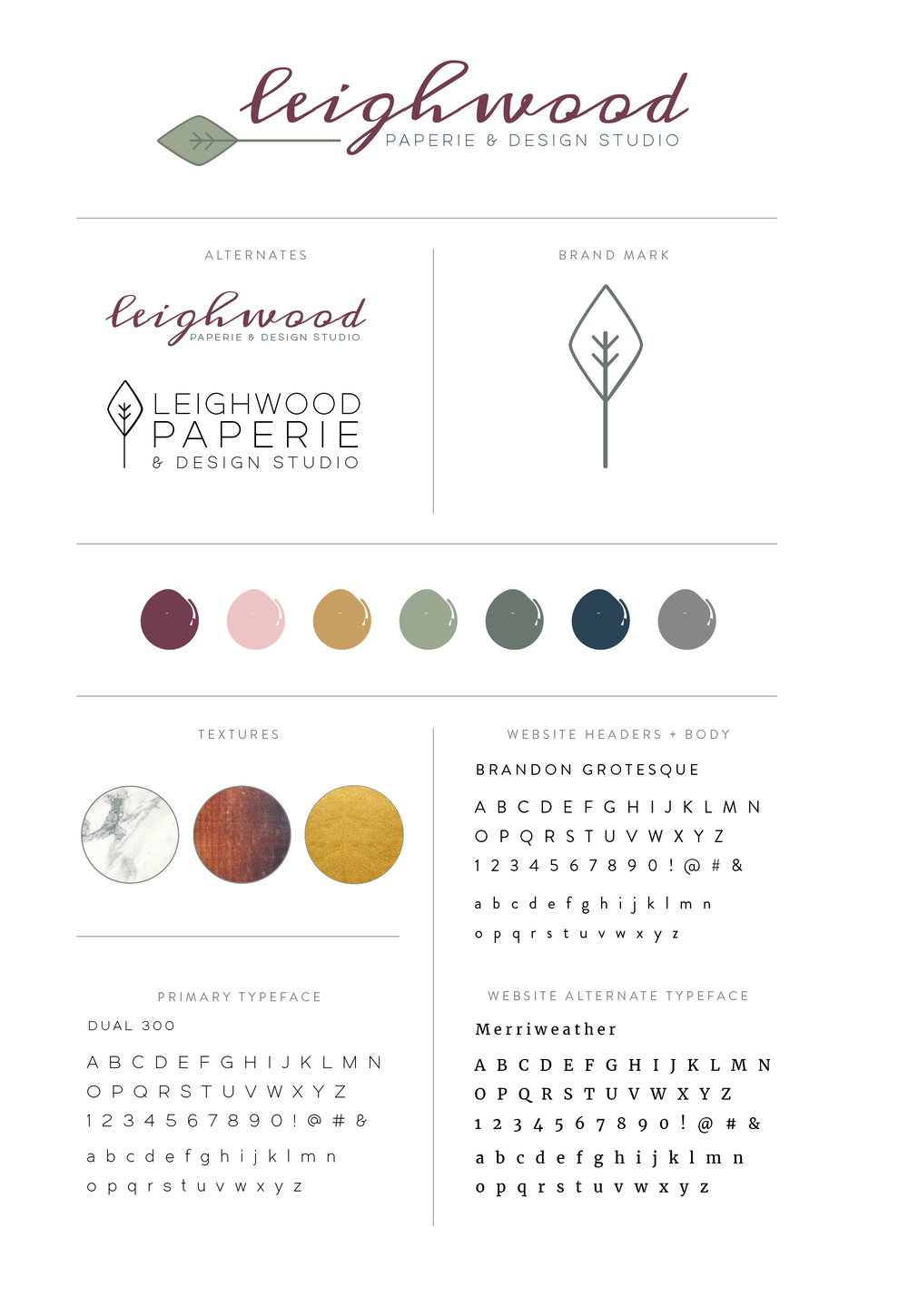 Leighwood Paperie >> Brand style guide