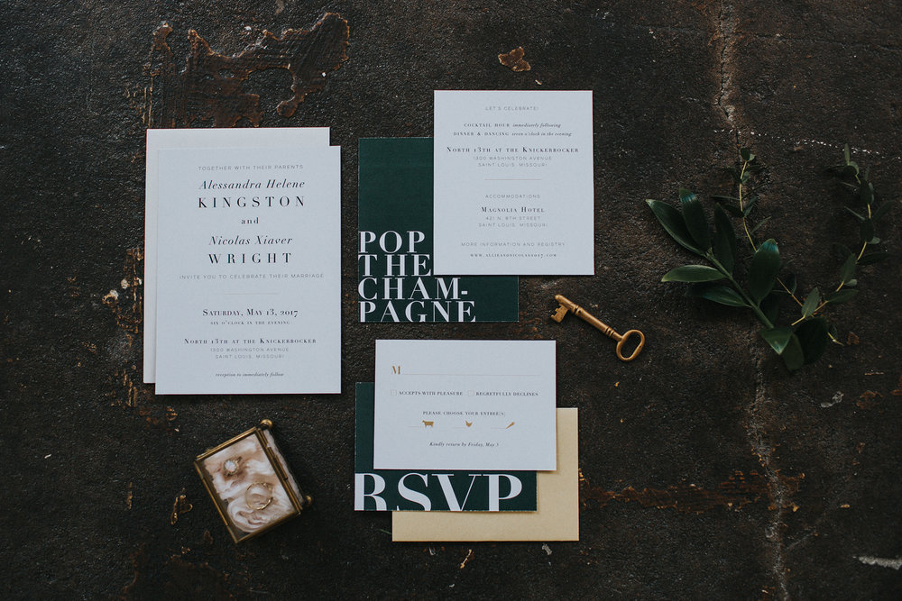 The Leighwood Collection, a catalog of customizable wedding invitations | Modern Invitation Design in Evergreen and Gold | Modern Loft Styled Shoot with Greenery | Floral design by Snapdragon Studio, Photographed by Jacoby Photo and Design at North13th, St. Louis, Missouri