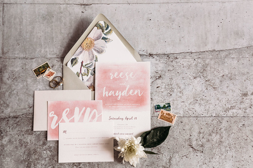 The Leighwood Collection, a catalog of customizable wedding invitations | Modern and Bohemian Invitation Design in Pink and White | St. Louis, Missouri