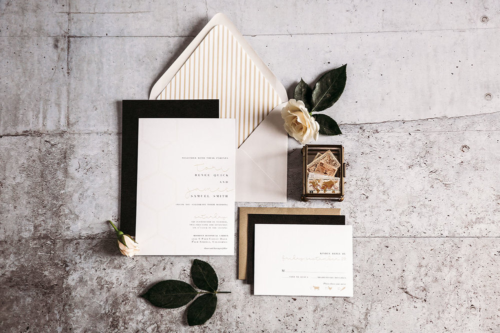 The Leighwood Collection, a catalog of customizable wedding invitations | Minimal and Mid-Century Modern Inspired Invitation Design in Black and Gold | St. Louis, Missouri