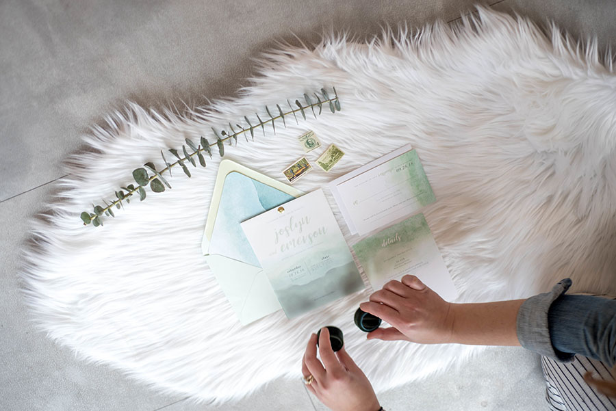Chic and contemporary styled shoot at Slate Events in Downtown St. Louis   Invitation Design by Leighwood Design Studio