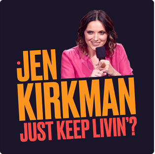 JUST KEEP LIVIN'? - Released as Kirkman's second Netflix special in January 2017, Just Keep Livin'? the album (including 17 minute bonus content) is NOW available digitally on AMAZON and ITUNES. The digital download includes a 17 minute bonus track that you didn't see on Netflix.In her new show, Jen reveals her Just Keep Livin' tattoo (a sage Mathew McConaghey quote), explains how we approach culture and spirituality, talks about women being able to travel alone, all while trying to keep the crazy in (when it matters). - Bust MagazineKirkman is at her hard-hitting finest in her latest Netflix project. She talks frankly about street harassment, birth control, and sex education - in a style that's as much political as comedic. Kirkman is one of the slickest in the business at what she does. - Telegraph.co.uk