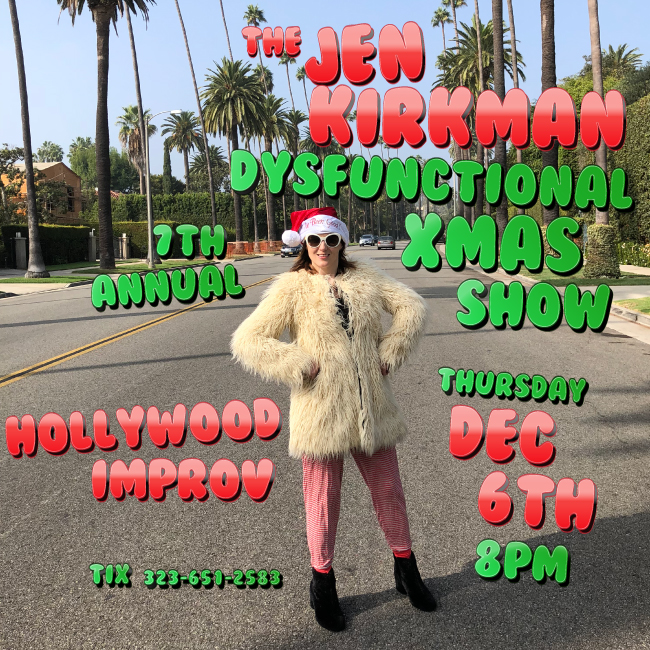XMAS SHOW! - Thursday December 6th, 8pm LOS ANGELESJoin Jen and her talented friends as they un-ironically love the holiday season with comedy, stories, songs, interviews, and weirdness - like throwing candy and dancing on pianos.This is the place you can come if you struggle to love the holidays. It's a night of dark comedy meets holiday hope. Please bring a children's book for the annual Barnes and Noble Holiday Book Drive Program. A portion of the show proceeds will go to the Los Angeles Food Bank
