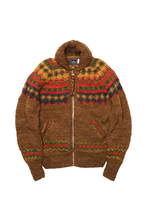 Fairisle #3 Ireland Zipper Cardigan - Brown — CHAMULA