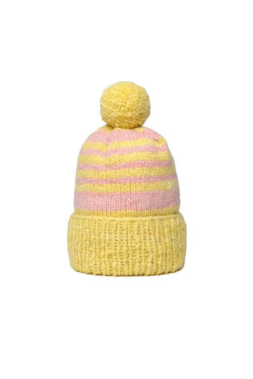12acfab4d71 Double Cuff Cap Stripe - Marigold x Lt. Pink — CHAMULA