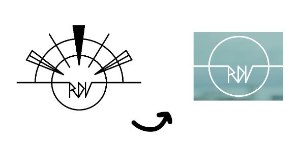 (L) Brandon's original sketch of the RDV logo, (R) an intermediary logo designed by Emma.