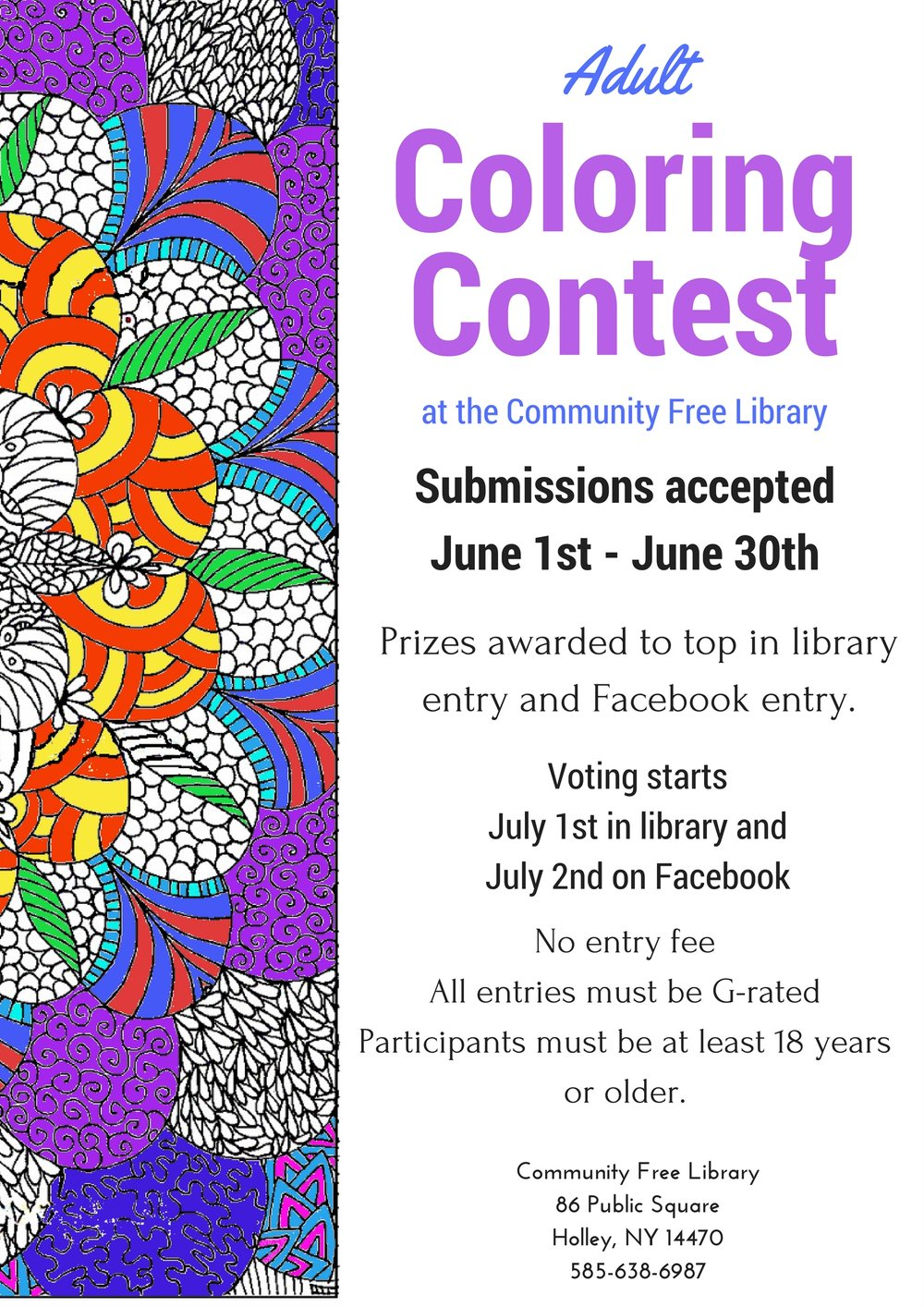 Adult Coloring Contest — Community Free Library