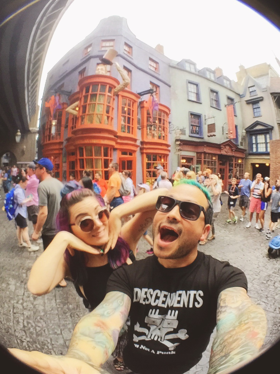 Diagon Alley! Outside the Weasley Wizard Wheezes shop! Taken w/ Olloclip.