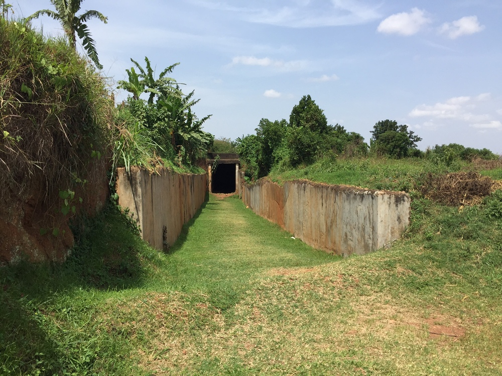 Approaching the entrance to Idi Amin's torture chamber at the palace.