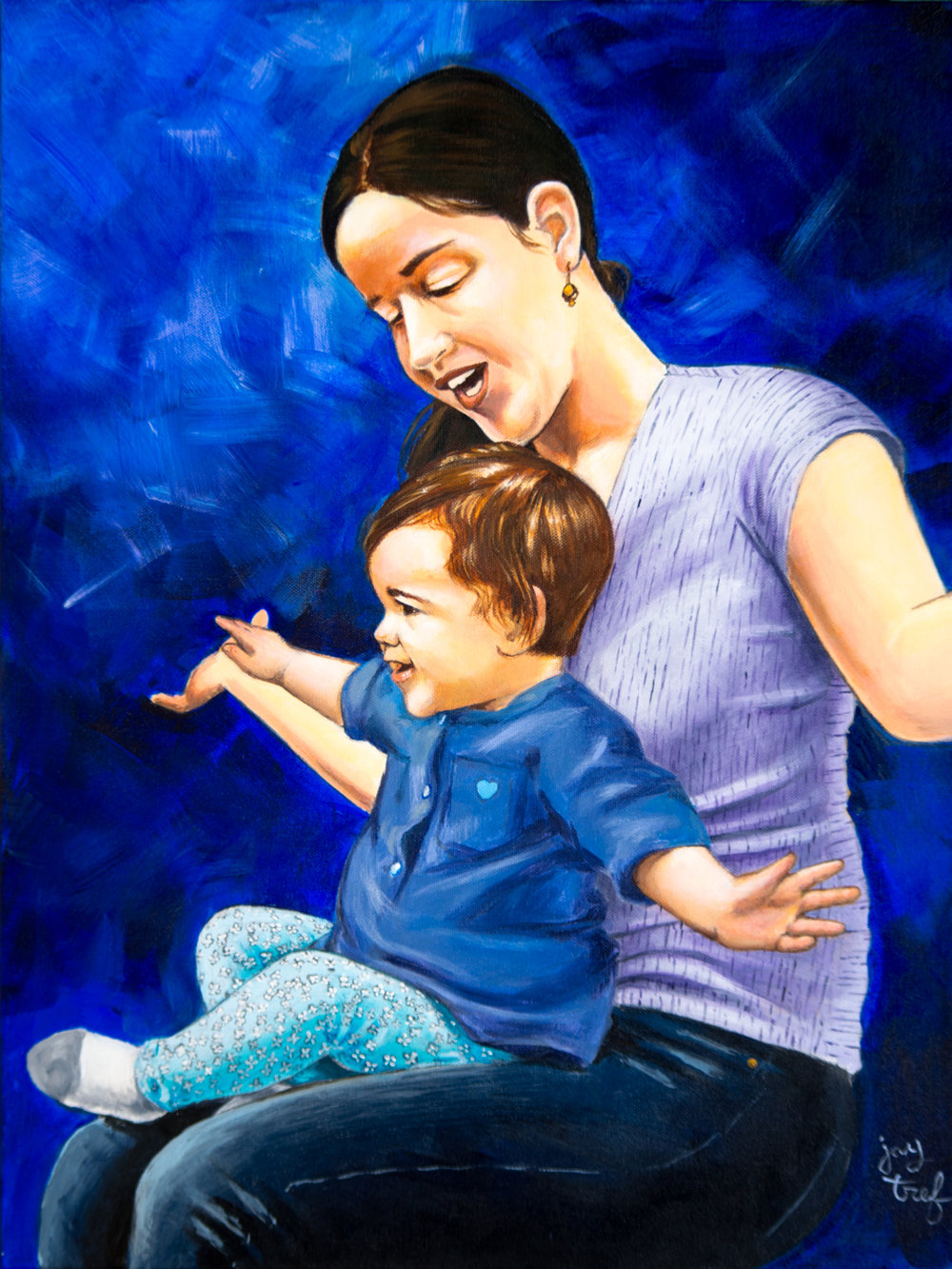 Shauna and Aubrey by Jay Trefethen. Acrylic on canvas, 18 X 24. © 2016 Jay Trefethen.