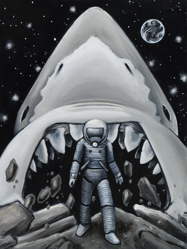 Moon Shark, Acrylic on Canvas, 18 X 24,© 2017 Jay Trefethen