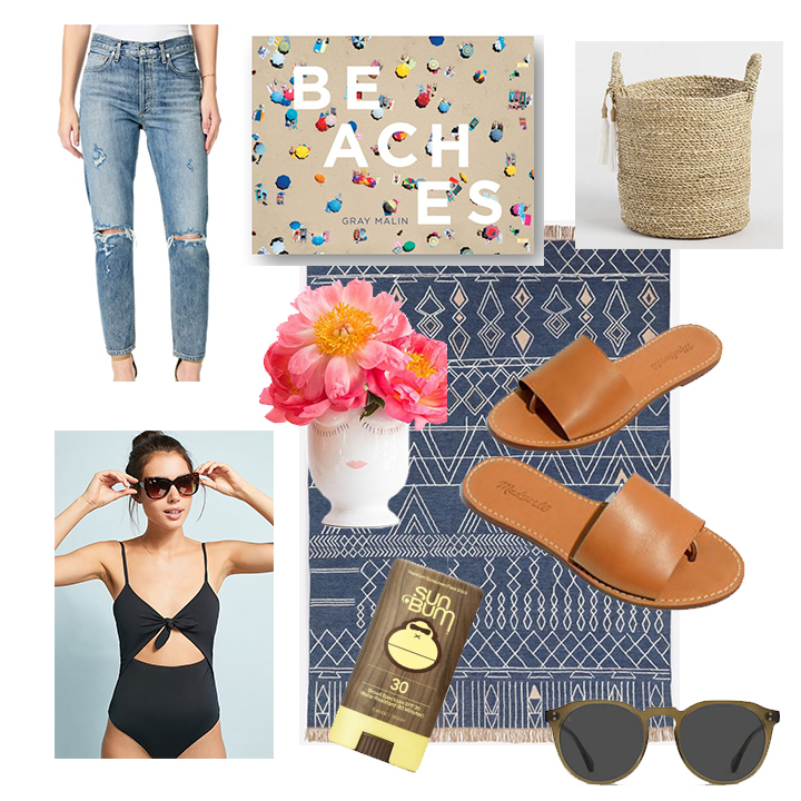 Cute and Comfy High Rise Jeans ,  Beaches Book by Gray Malin ,  Seagrass Basket  (wouldn't a plant look cute in this?),  Easy Leather Slides ,  A Slight Update on Traditional Sunglasses ,  My Favorite SunBum Stick Sunscreen ,  Classic Black Swimsuit ,  Fun Face Vase ,  Great Indoor/Outdoor Rug