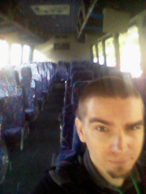 The empty shuttle on the way back to the convention center. Sorry about the potato camera. XD