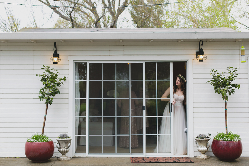 bride looks out