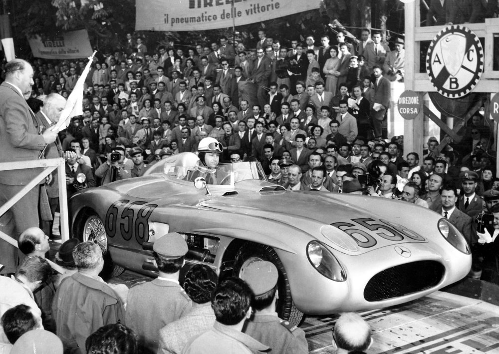 Juan Manuel Fangio in the 300 SLR at the Mille Miglia