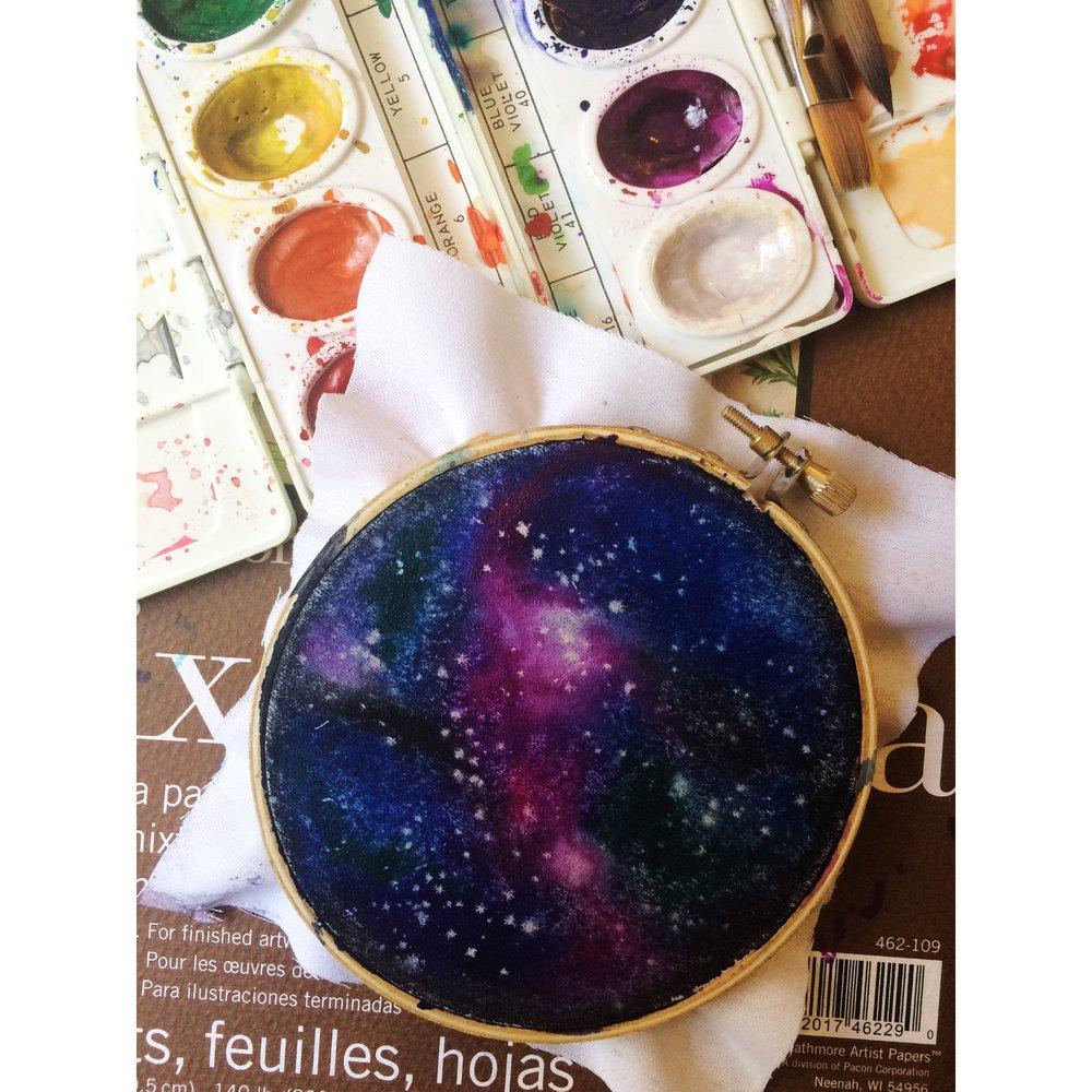 Magenta Galaxy Hoop Painting