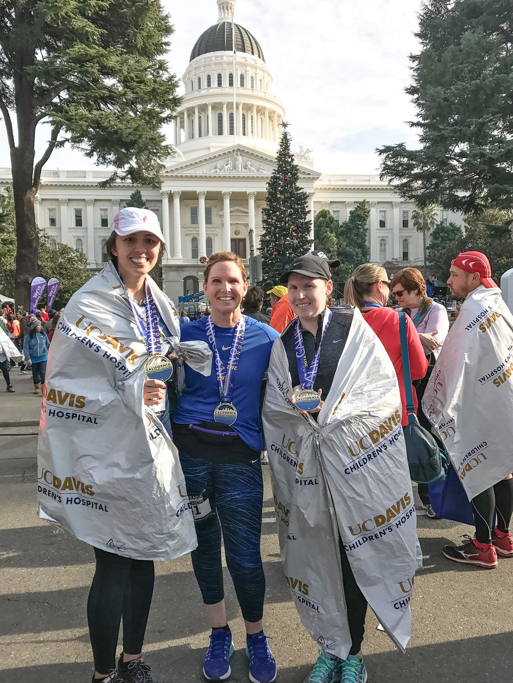 California International Marathon (CIM)  2016 was my first full marathon and I was able to finish strong alongside a few special ladies (Laurie and Taryn Powers) from my Wednesday night run group.