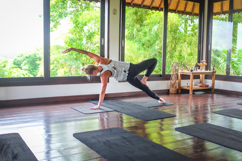 While in Bali, Kelsey took a yoga class where the studio,Intuitive Flow, was built on stilts.