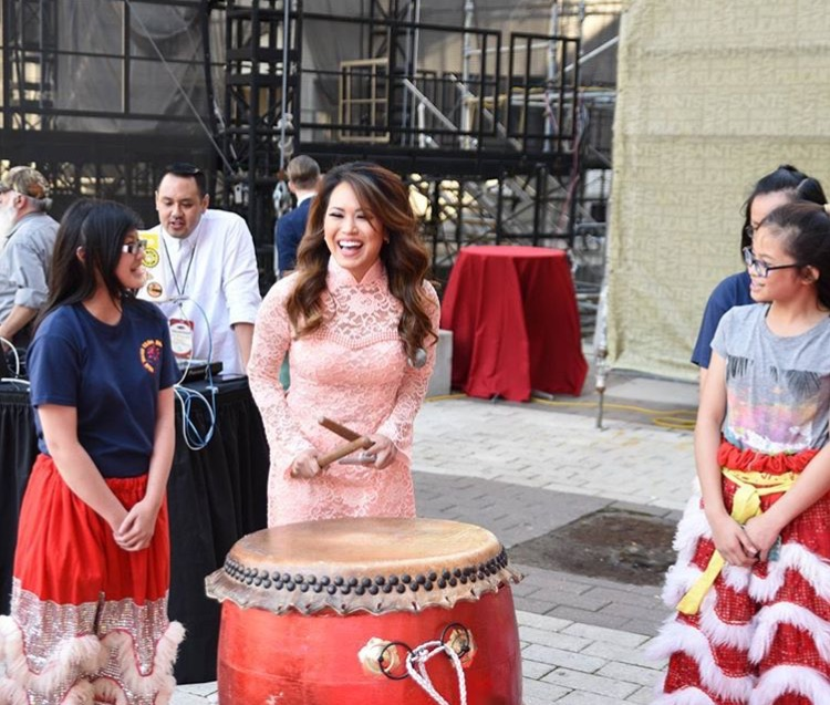Van Hanh Lion Dance Team teaching me how to drum. Photographed by Brenda Sison.