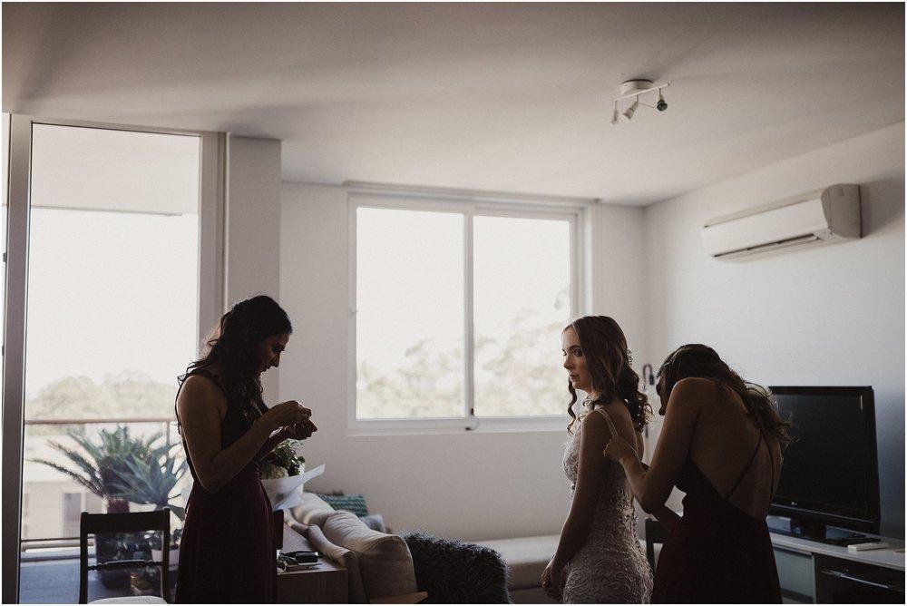 Sydney Wedding - Bride getting dressed