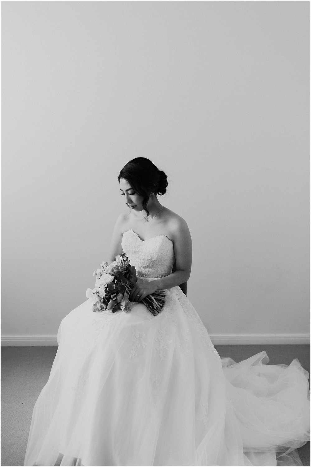 Classic Black and White Bride Portrait