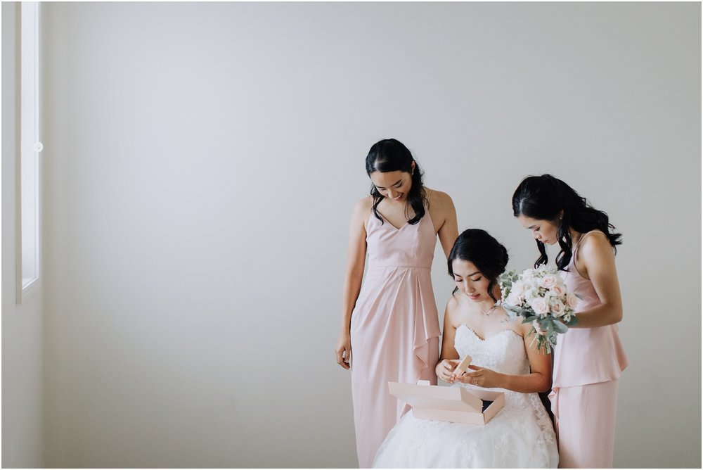 Bride and bridesmaids candid