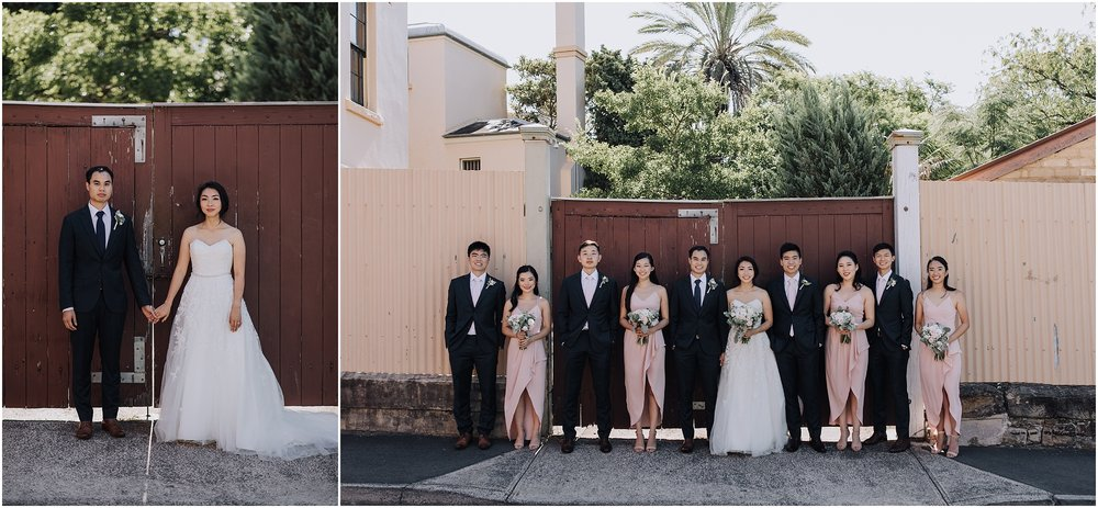 Sydney bridal party in Paddington portrait