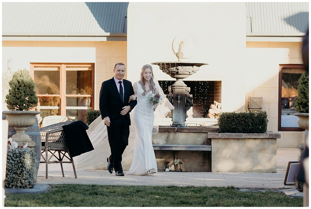 Bowral Southern Highlands Autumn Wedding - Bride walking down aisle