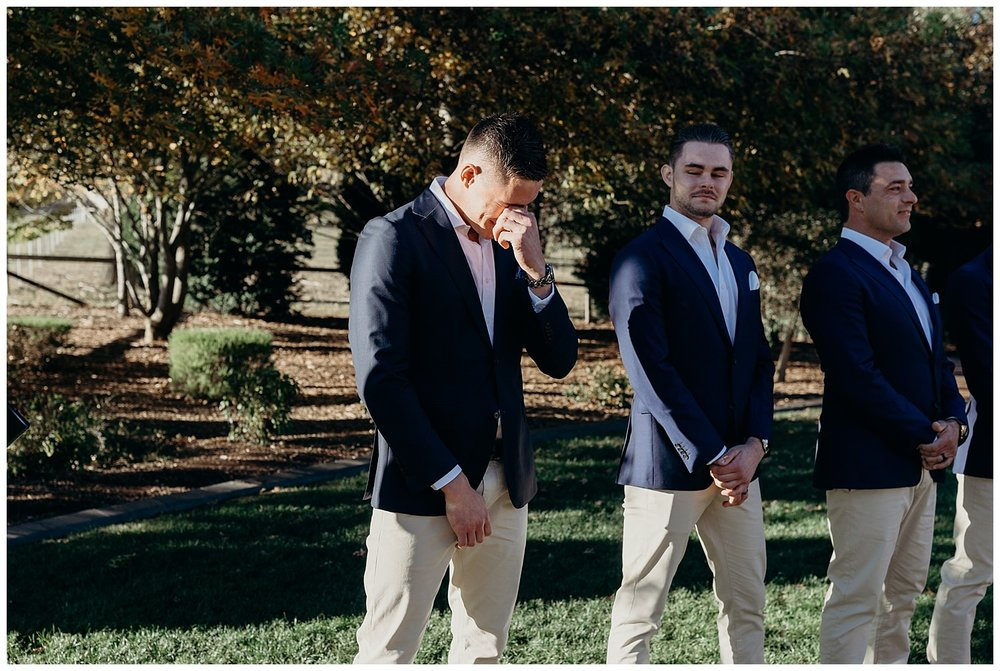 Bowral Southern Highlands Autumn Wedding - Groom reaction to bride