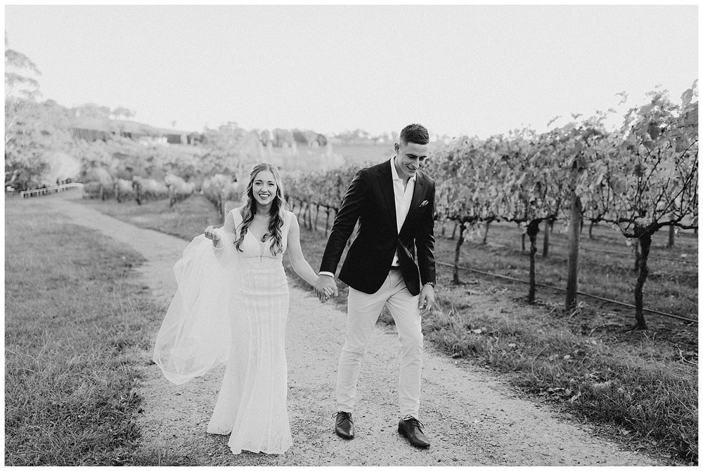 Bowral Southern Highlands Autumn Wedding - Candid black and white bridal portrait