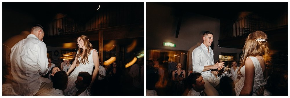 Bowral Southern Highlands Autumn Wedding - Bride and groom lifted at wedding reception