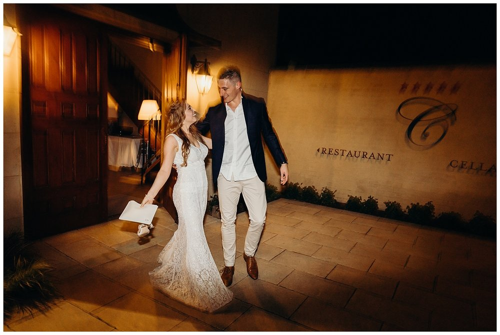 Bowral Southern Highlands Autumn Wedding - Bride and groom depart Centennial Vineyards reception