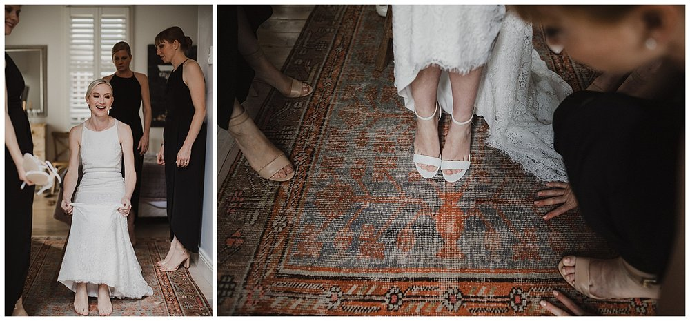 Sydney bride is helped into her wedding shoes by bridesmaids