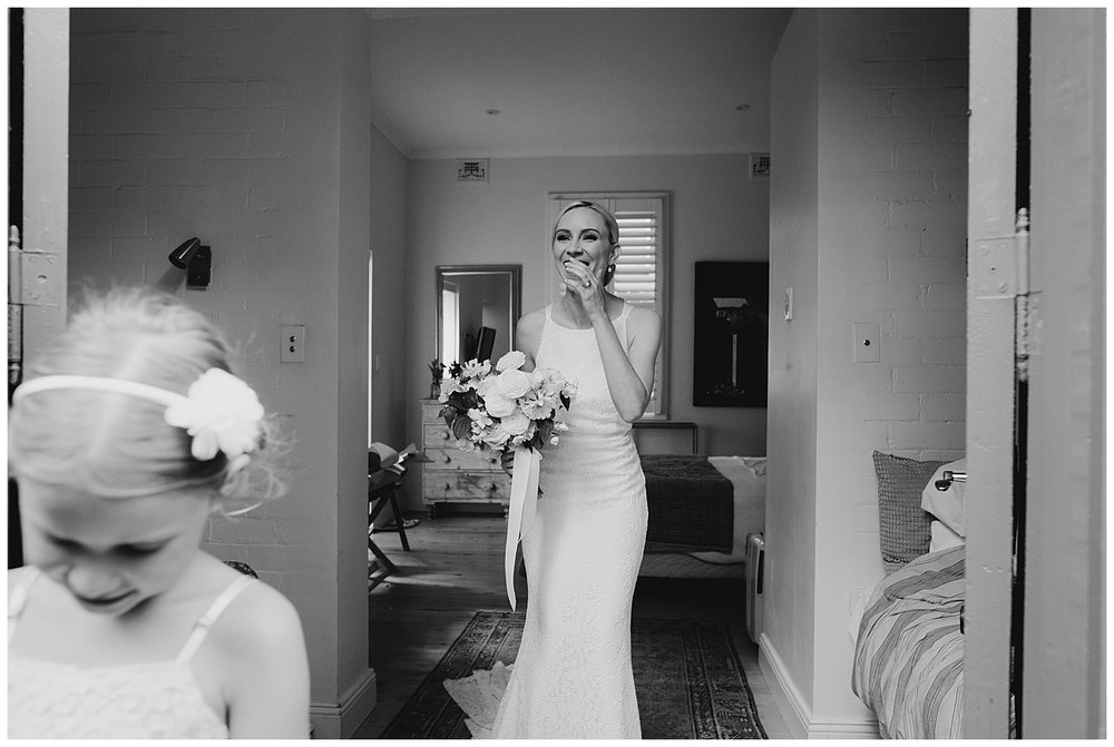 Candid photo of Bride getting ready to leave for her Sydney Wedding