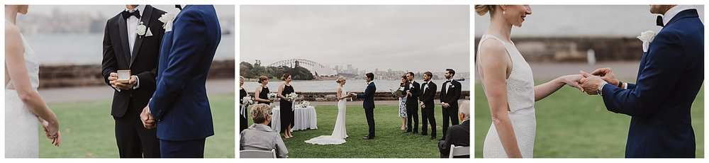 Bride and Groom exchange rings in the Royal Botanic Gardens Sydney Wedding